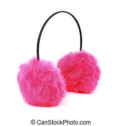Pink  earmuffs - Pink winter fur earmuffs isolated on white
