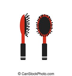 Color brush hair flat icon - Color brush hair flat on a...
