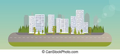 City real estate - Abstract city island. Flat trees, houses,...