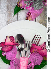 Holiday romantic table setting