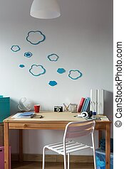 Cloud wall decor in cozy childs room