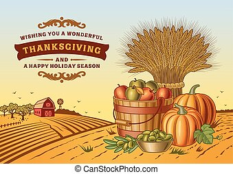 Vintage Thanksgiving Landscape - Vintage Thanksgiving...
