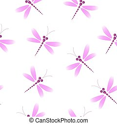 Vector seamless pattern with pink dragonflies on the white background
