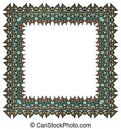 Ornamental vector frame. Isolated square element.