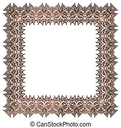 Vector ornamental soft pink frame. Isolated square element.