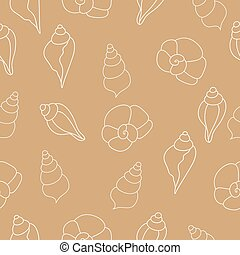 Beige vector seamless pattern with seashells