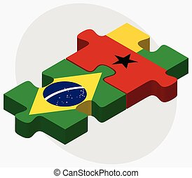 Brazil and Guinea-Bissau Flags in puzzle isolated on white...