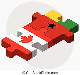 Canada and Guinea-Bissau Flags in puzzle isolated on white...
