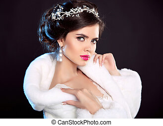 Beauty Fashion Girl in White Mink Fur Coat. Winter portrait. Beautiful woman model with elegant hairstyle and makeup posing isolated on dark studio background.