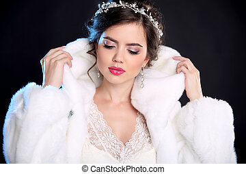 Beauty Fashion Model Girl in Mink Fur Coat and white furry hood. Makeup. Beautiful Luxury Winter Woman isolated on black background.