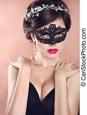 美しい, 宝石類, 仮面舞踏会, ヘアスタイル, 構造, 優雅である, マスク, 黒, 女の子, ベール