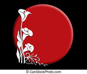 Rising sun calla lily - Rising sun and calla lily Japanese...