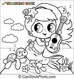 Coloring page mermaid by the sea