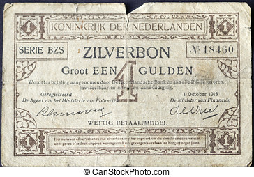 Silver Note is a unique Dutch banknote of 1918 - Silver...