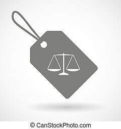 Label icon with a justice weight scale sign