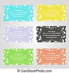 Set of six horizontal business cards in different colors. Vintage pattern with leaves. Complied with the standard sizes.