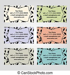 Set of six horizontal business cards in different soft colors. Vintage pattern with leaves. Complied with the standard sizes.