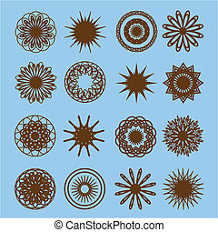 Set of round doodle elements on the blue background