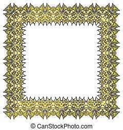 Yellow vector frame. Isolated square element.