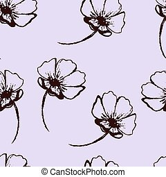Vintage vector seamless pattern with hand-drawn flowers on the soft purple background