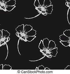 Vintage vector seamless pattern with hand-drawn flowers. White flowers on the black background.