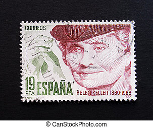 Helen Keller - Spanish postage stamp with image of Helen...