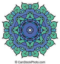 Blue mandala. Round element.