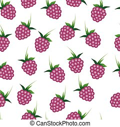 Seamless pattern with raspberries.