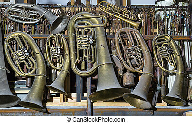 trumpet, musical instruments - pipe, a lot of old classical...