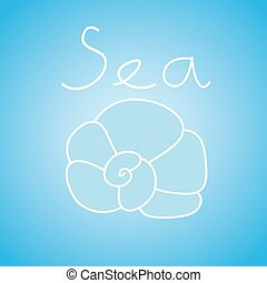 Vector illustration of seashell on the light blue background with text