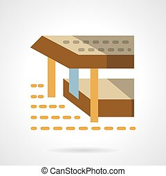 Sea terrace flat color simple vector icon - Terrace on pier...