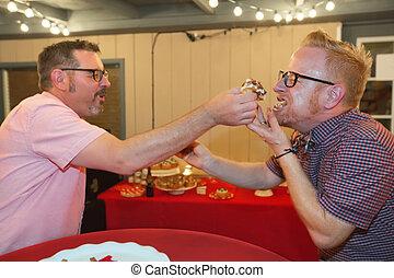 Gay Men Share Cake