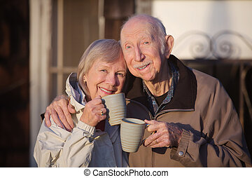 Cheerful Couple with Coffe