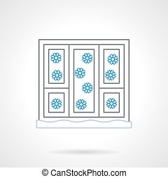 Window with snowflakes flat color line vector icon - White...