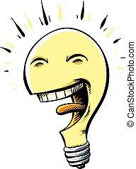 Happy Lightbulb - A happy, cartoon lightbulb with a big,...