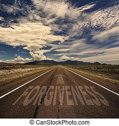 carretera, con, el, palabra, perdón,