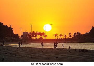 Sunrise in Rio de Janeiro, Ipanema beach and Arpoador -...