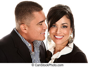 Hispanic man kissing Latina woman - Handsome Hispanic man...