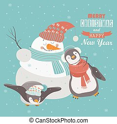Funny penguins with snowman celebrating Christmas Vector...