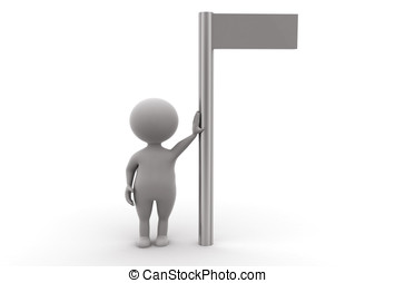 3d man standing in support to a sign board concept