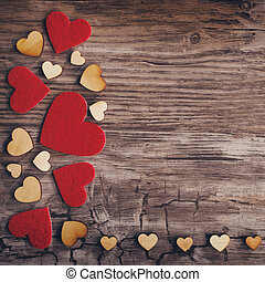 heart background - hearts on old wooden background