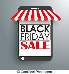 Smartphone Shop Curtain Black Friday - Smartphone as shop on...