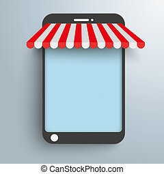 Smartphone Shop Curtain - Smartphone as shop on the gray...