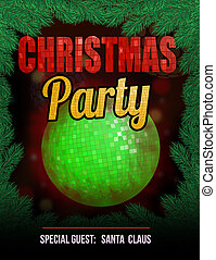 Christmas party poster with disco ball, vector illustration
