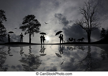 Beautiful landscape and people silhouette - Background with...