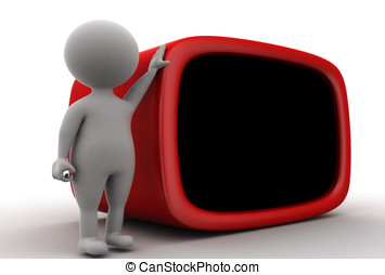 3d man with a huge television concept