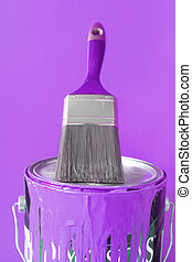Purple paint and brush - paintbrush on top of purple or...