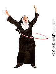 Funny Nun with Toy Hoop - Funny nun excercising with toy...