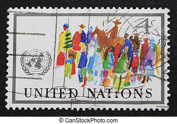 Colorful United Nations postage stamp - 4ct postage stamp of...