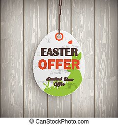 Easter Offer Egg Price Sticker Wooden Wall - Price sticker...